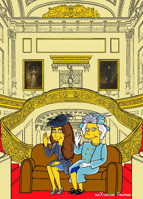 Princess Kate Middleton  Duchess of Cambridge and Queen Elizabeth Simpsonized The Simpsons Buckingham Palace  Art Cartoon Illustration Style Best Dresses Look Fashion Royal Icon Artist aleXsandro Palombo Humor Chic Web 3