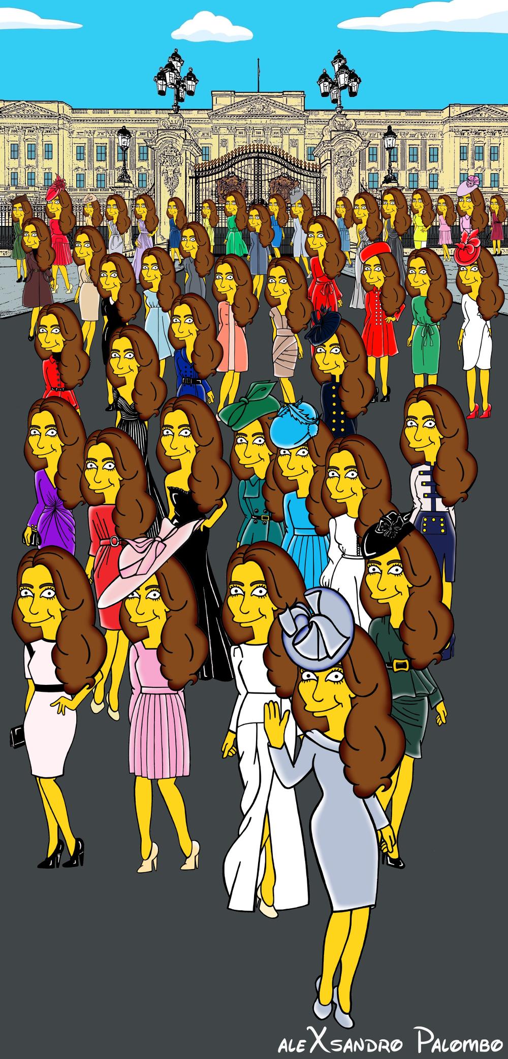Princess Kate Middleton  Duchess of Cambridge and Queen Elizabeth Simpsonized The Simpsons Buckingham Palace  Art Cartoon Illustration Style Best Dresses Look Fashion Royal Icon Artist aleXsandro Palombo Humor Chic Web 2