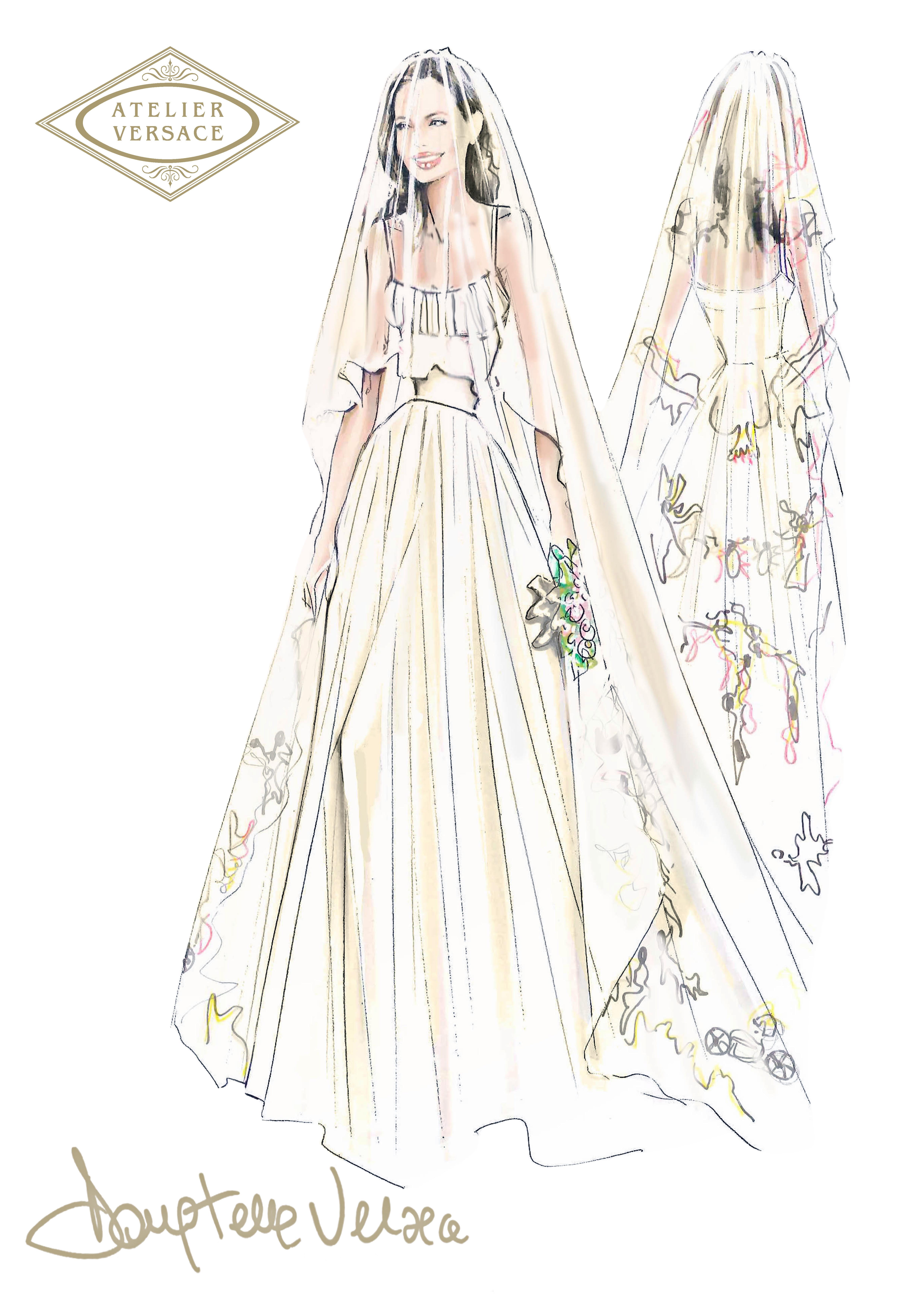 angelina jolie atelier versace wedding gown dress