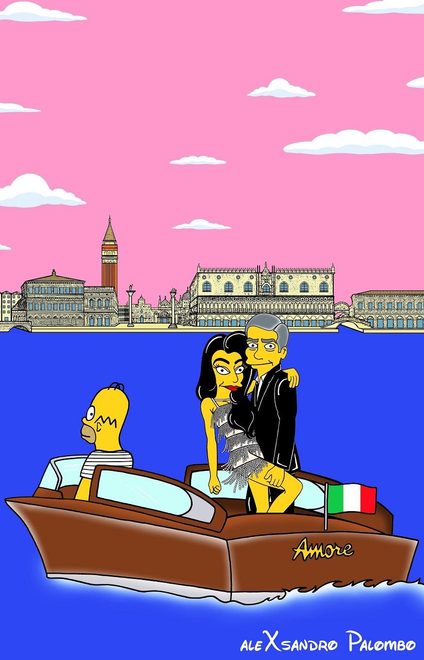 George Clooney Amal Alamuddin Simpsonized The Simpsons Wedding Venice Italy Amore Love Picture Art Cartoon Iconic Style Fashion Look Artist aleXsandro Palombo 2-1
