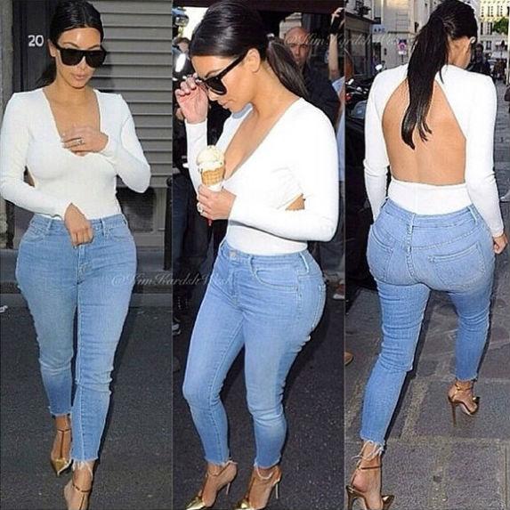 Kim Kardashian Jeans White shirt