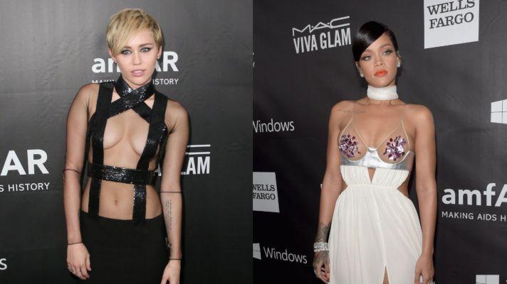 Miley Cyrus and Rihanna Basically Showed Up Naked to the AMFAR Gala
