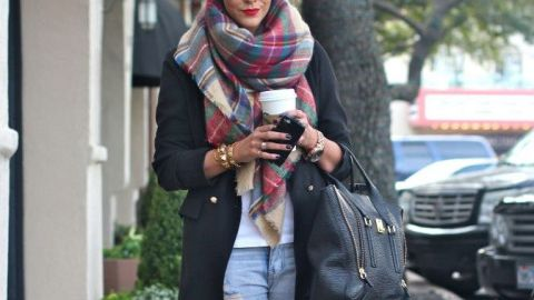 You Need an Oversized Plaid Scarf! | StyleCaster