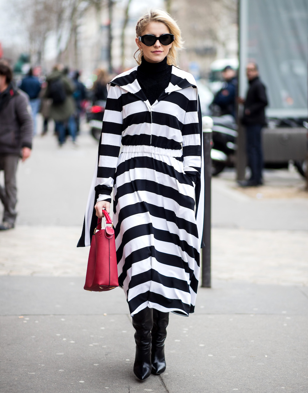 Caro Daur wearing striped coat