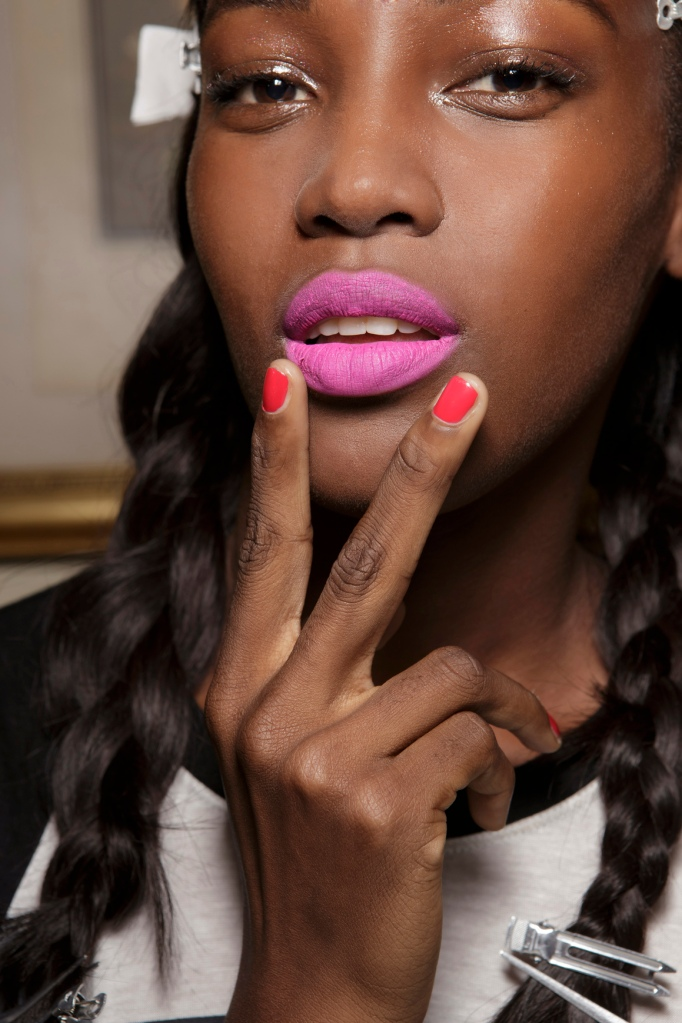 matte pink lipstick african american skin