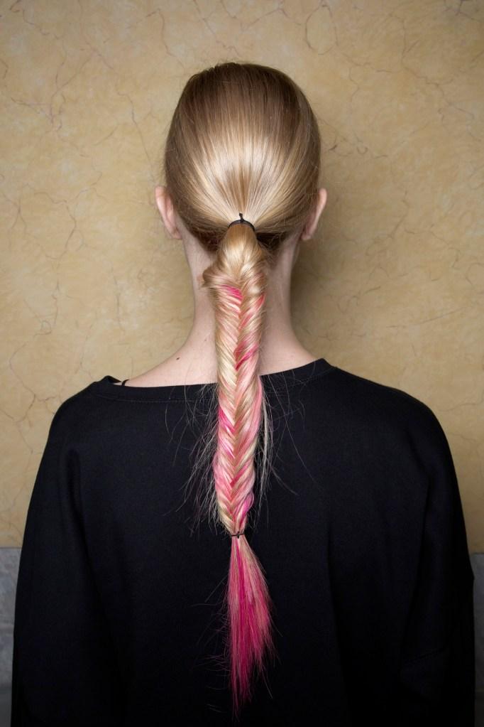 fishtail braid pink hair