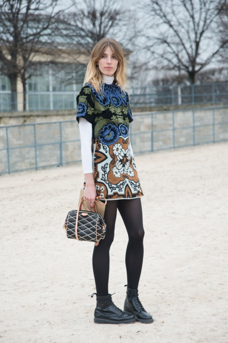 PARIS, FRANCE - MARCH 10: Mytheresa.com senior fashion editor Veronika Heilbrunner wears a Valentino dress, Dr. Marten boots and Louis Vuitton bag on day 8 of Paris Collections: Women on March 10, 2015 in Paris, France. (Photo by Kirstin Sinclair/Getty Images)*** Local Caption *** Veronika Heilbrunner