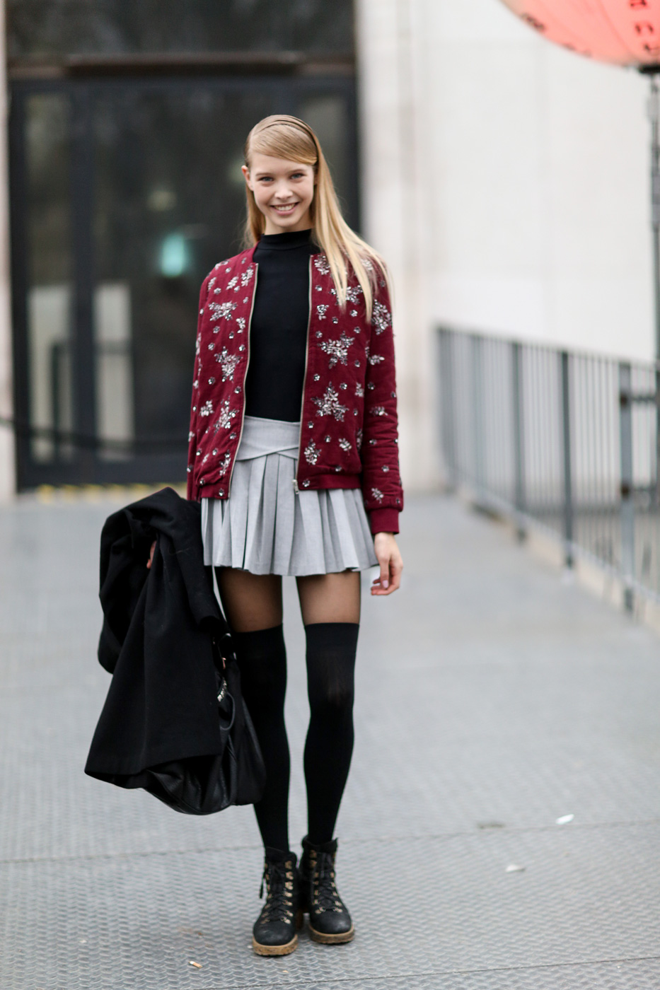 Model in casual outfits.