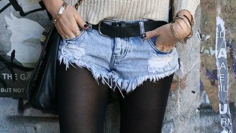 Try This: Winterizing Denim Shorts  | StyleCaster