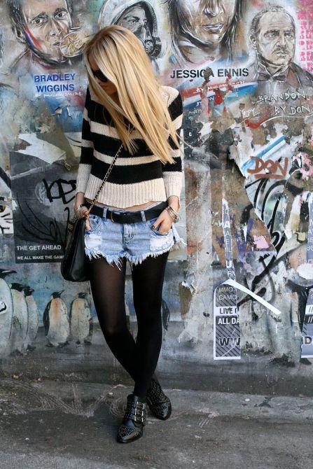 26e3f66621cae9c81604dc0cb9ce8831 A Month of Fashion Risks: Denim Shorts and Black Tights