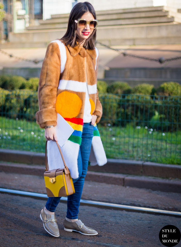 Natasha Goldenberg wearing a fur coat.