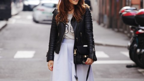 Midi Skirts + Leather Jackets | StyleCaster