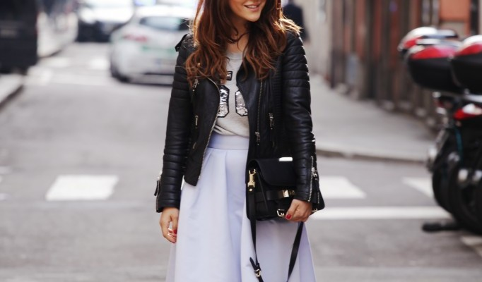 Midi Skirt + Leather Jacket = A Combo to Try Immediately