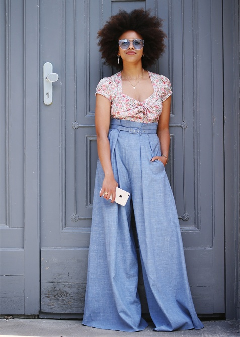 woman wearing wide-leg pants in the summer