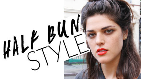 Beauty Street Style: A Half Bun and a Coral Lip | StyleCaster