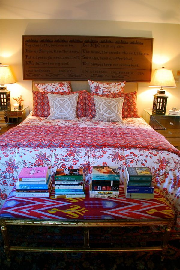 eclectic bedroom colorful books foot bed 30 Home Decor Rules That Were Made To Be Broken