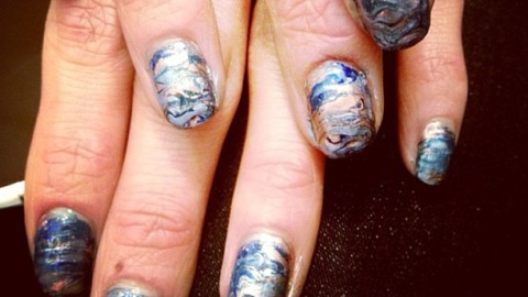 Snapshot Of The Day: Oil Slick Nail Art at Rebecca Minkoff | StyleCaster