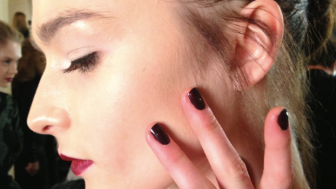Snapshot of the Day: Matching Lips & Tips at Zac Posen Fall 2013 | StyleCaster