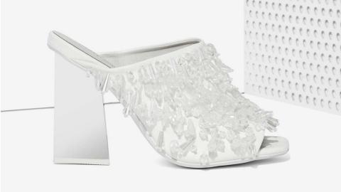 Ed's Pick: Fierce Beaded White Mules | StyleCaster