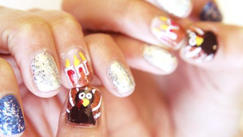 Thanksgivukkah Nail Art How To: Combine Turkeys & Menorahs For More Fun (Duh!) | StyleCaster