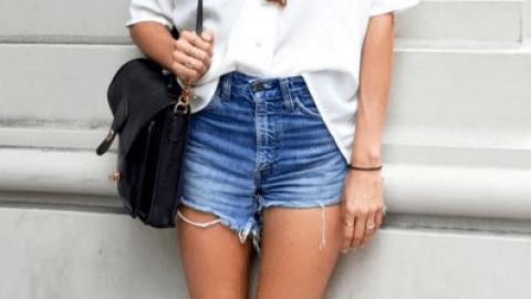 White Shirt + Denim Shorts | StyleCaster