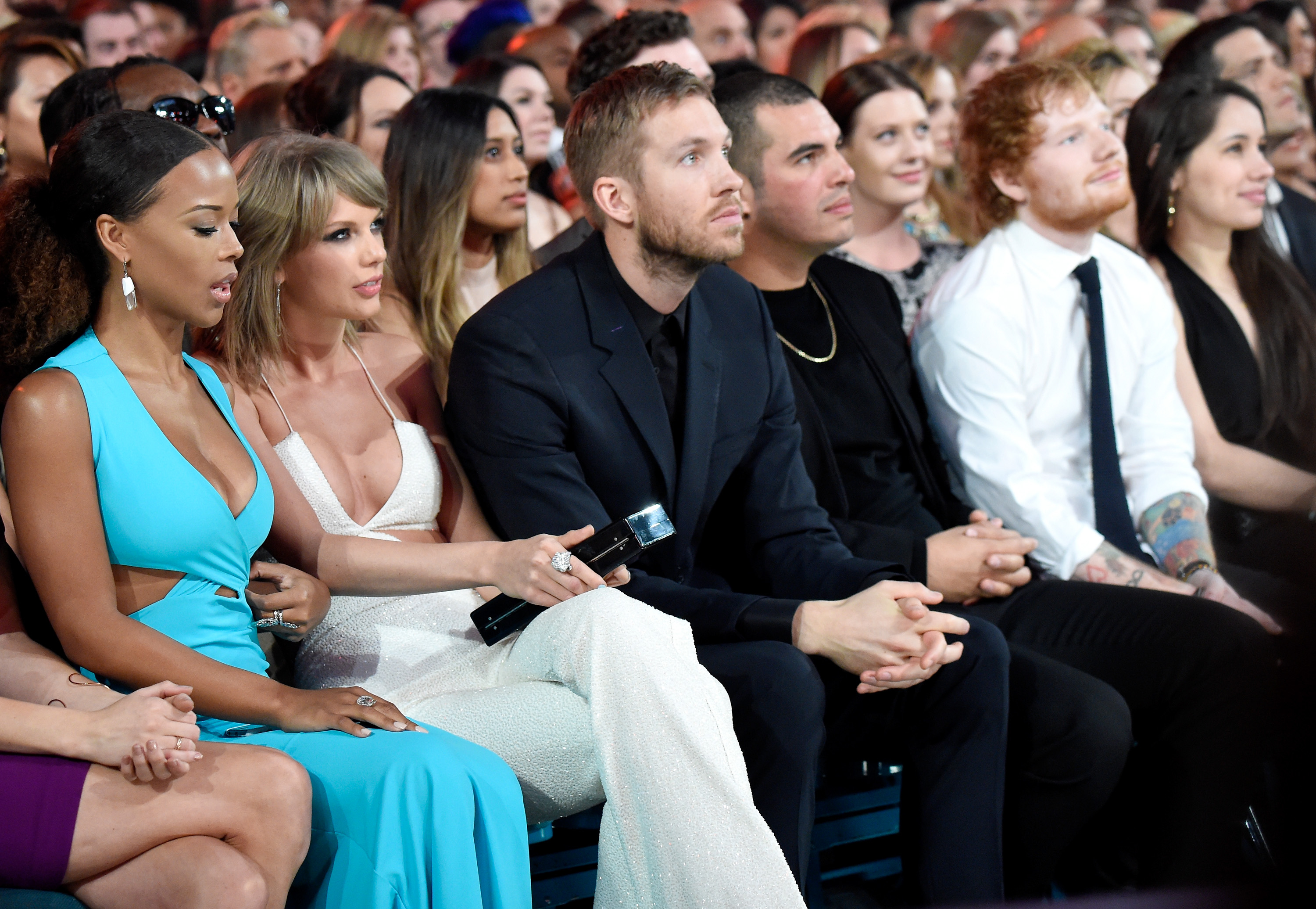 LAS VEGAS, NV - MAY 17:  Recording artists Taylor Swift, Calvin Harris and Ed Sheeran attend the 2015 Billboard Music Awards at MGM Grand Garden Arena on May 17, 2015 in Las Vegas, Nevada.  (Photo by Kevin Mazur/BMA2015/WireImage)