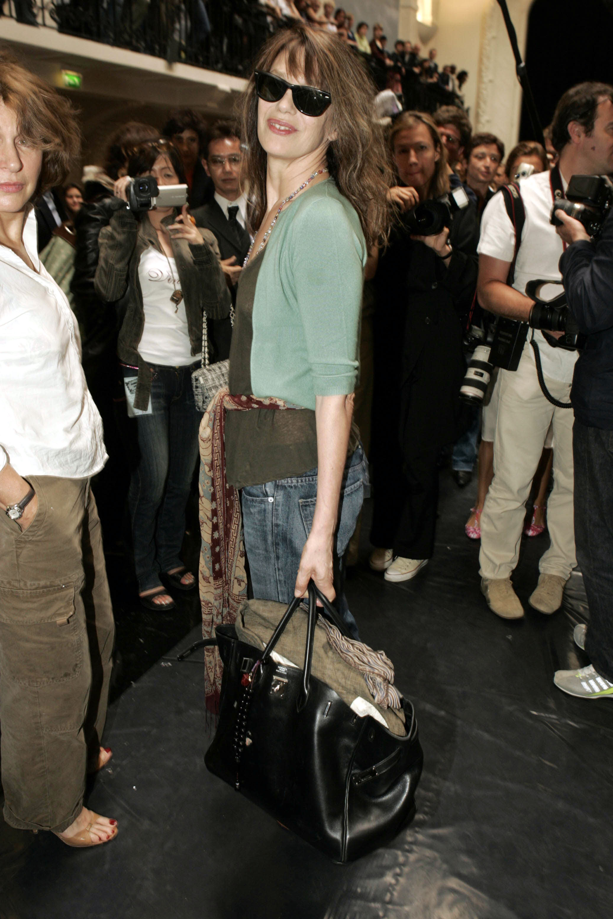 PARIS - JULY 8:  Jane Birkin attends the Jean Paul Gaultier Spring/Summer 2005 Fashion Show during Paris Fashion Week on July 8, 2004 in Paris, France. (Photo by Michel Dufour/WireImage)