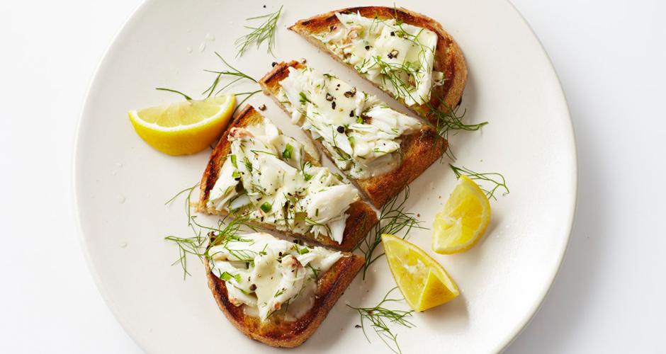 crab toast with lemon aioli