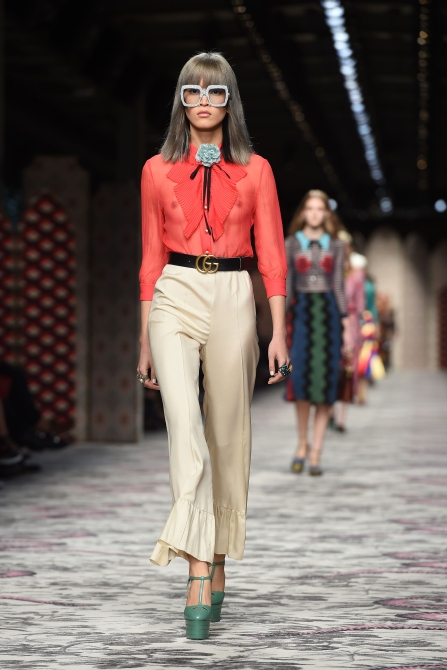 Marga Esquivel walking in Gucci's SS16 show. Photo: Getty Images