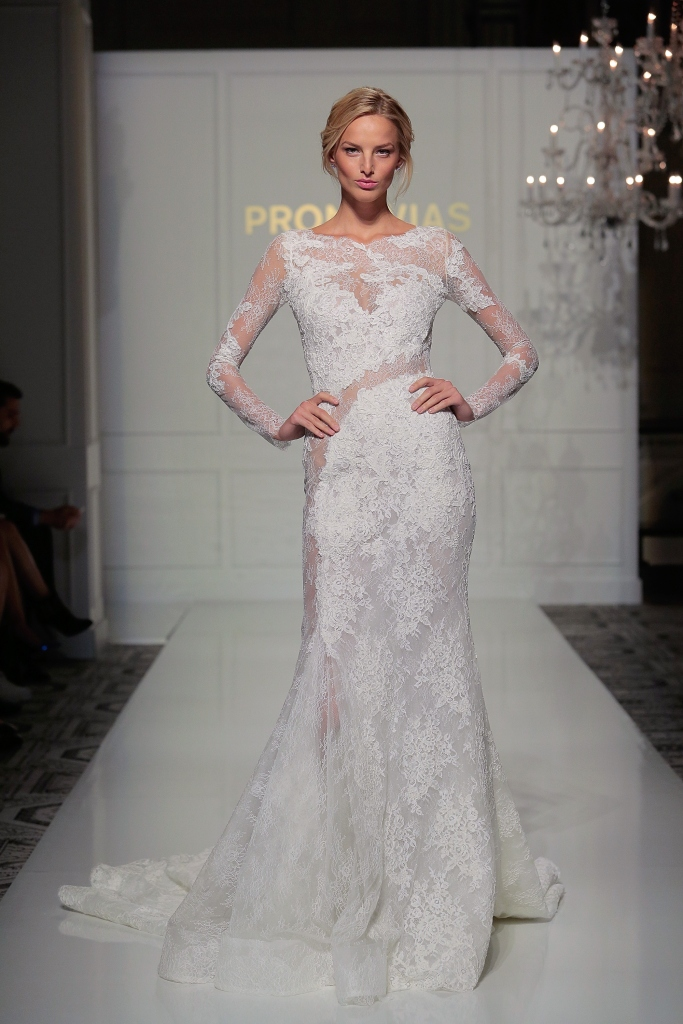 pronovias wedding dress sheer long sleeve