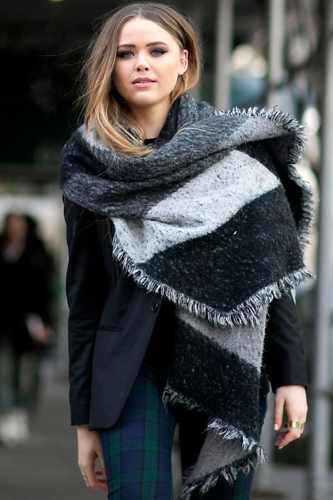 Kristina Bazan Hair Tucked Into Sweater