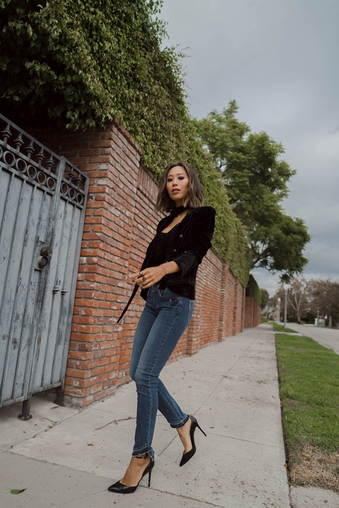 aimee song of style paige jeans paige leopard tank paige velvet jacket paige scarf 13 Essential Denim Tips: How to Wash, Break In, and Fold Jeans Like a Pro
