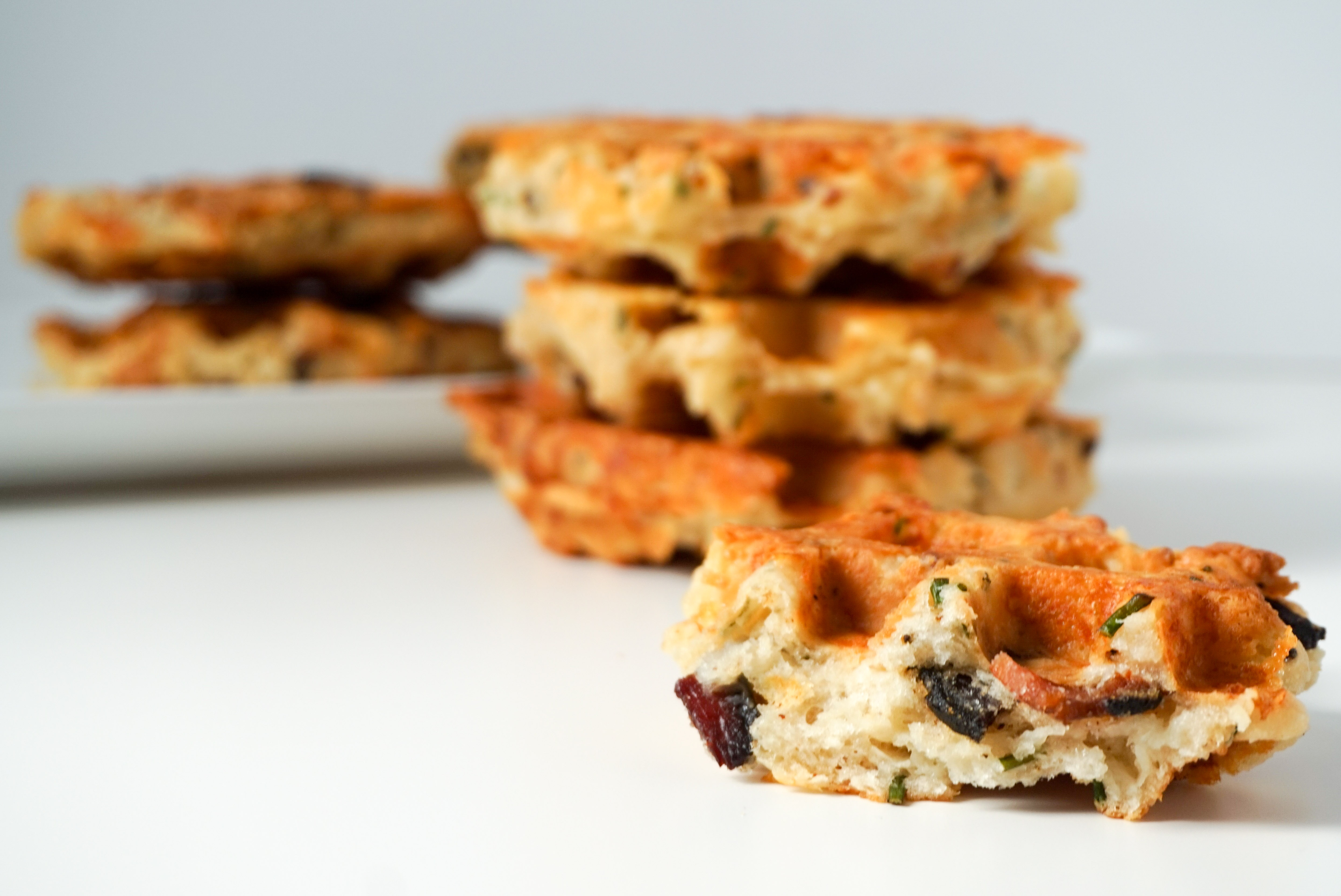 neurotic baker bacon cheddar chive waffles