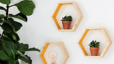 These DIY Hexagon Shelves Require Almost No Tools | StyleCaster