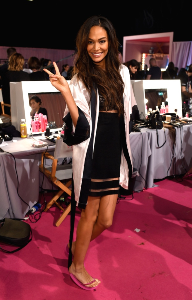 a model is seen backstage prior the 2014 Victoria's Secret Fashion Show on December 2, 2014 in London, England.