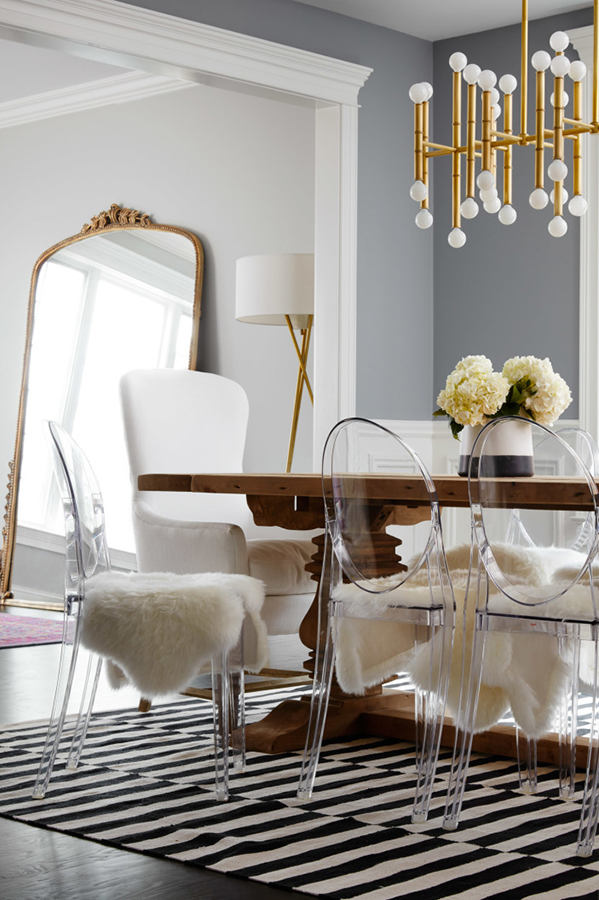 See-through furniture such as lucite (ghost) chairs and glass tables trick the eye into thinking there is more open space than there actually is