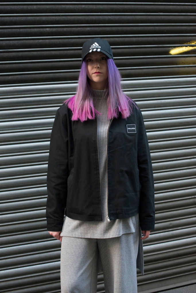 LONDON, ENGLAND - FEBRUARY 23: Blogger Kate White wears an Unalloyed jacket, Zara top and trousers and an Adidas hat on day 5 during London Fashion Week Autumn/Winter 2016/17 on February 23, 2016 in London, England. (Photo by Kirstin Sinclair/Getty Images)*** Local Caption *** Kate White