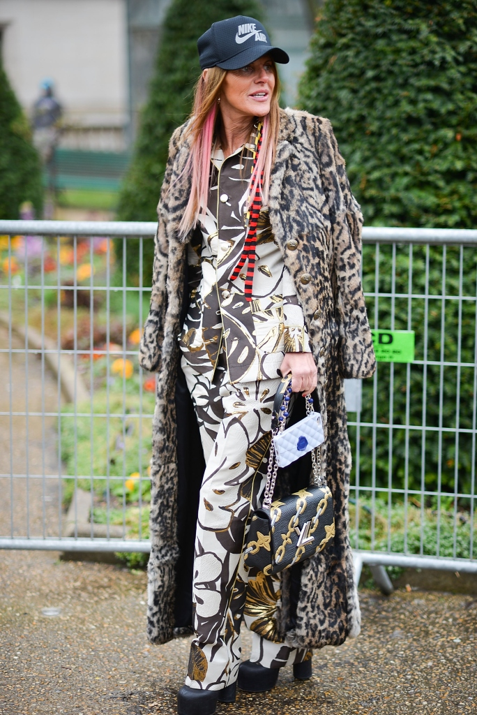 PARIS, FRANCE - MARCH 09: Anna Dello Russo poses before the Moncler Gamme Rouge show at the Grand Palais during Paris Fashion Week FW 16/17 on March 9, 2016 in Paris, France. (Photo by Vanni Bassetti/Getty Images)