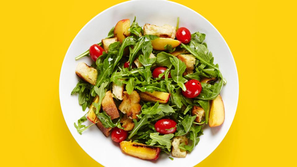 Grilled Peach Panzanella Salad Recipe