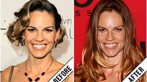 The Makeover Poll: Hilary Swank's Luxe Long Layers | StyleCaster