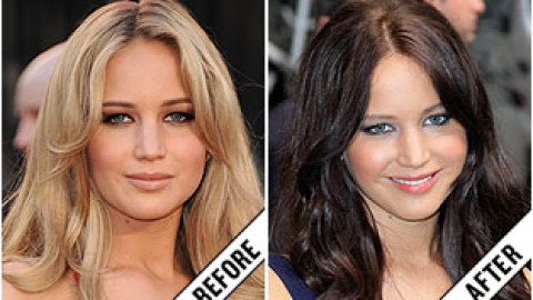 The Makeover Poll: Jennifer Lawrence's Brunette Hairstyle | StyleCaster