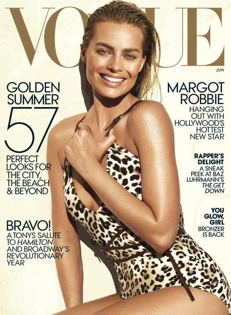 margot cover Amateur Tattoo Artist Margot Robbie Is a Bronzed Goddess on the June Vogue Cover