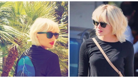 Lookalike Alert: Emma Stone and Taylor Swift Both Rock White-Blonde Lobs | StyleCaster
