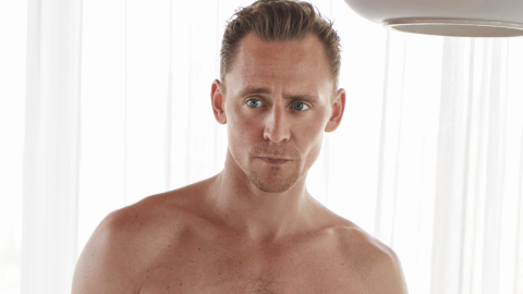 Here's Tom Hiddleston Almost Naked and Looking Awkward  | StyleCaster