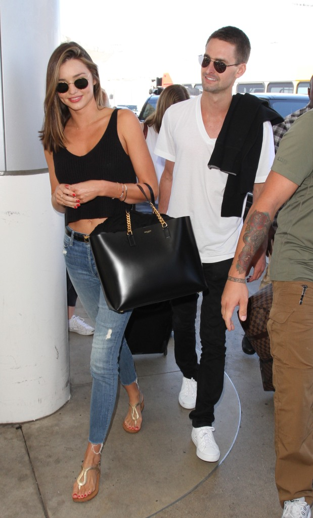 Miranda Kerr departs from Los Angeles International Airport (LAX) with billionaire boyfriend Evan Spiegel Featuring: Miranda Kerr, Evan Spiegel Where: Los Angeles, California, United States When: 12 Aug 2015 Credit: WENN.com