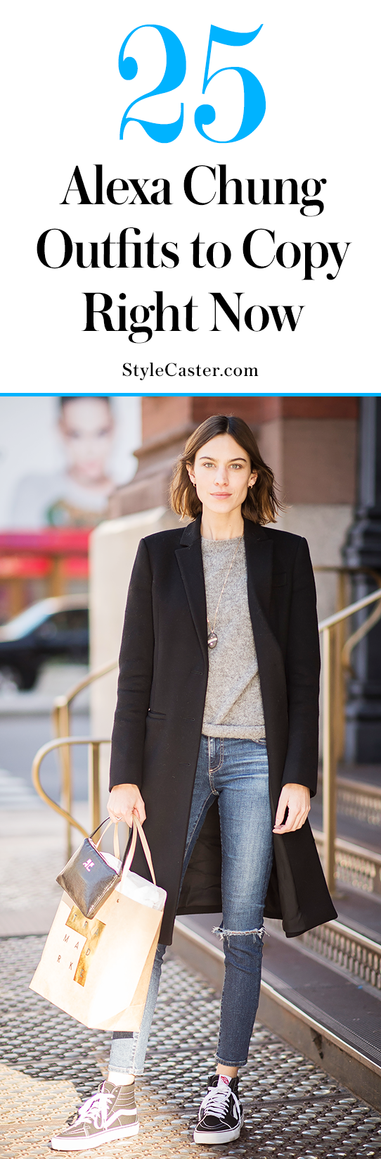 25 cool Alexa Chung outfits to copy right now | Fall casual—tailored wool coat, ripped denim + Van's sneakers | (Sponsored)