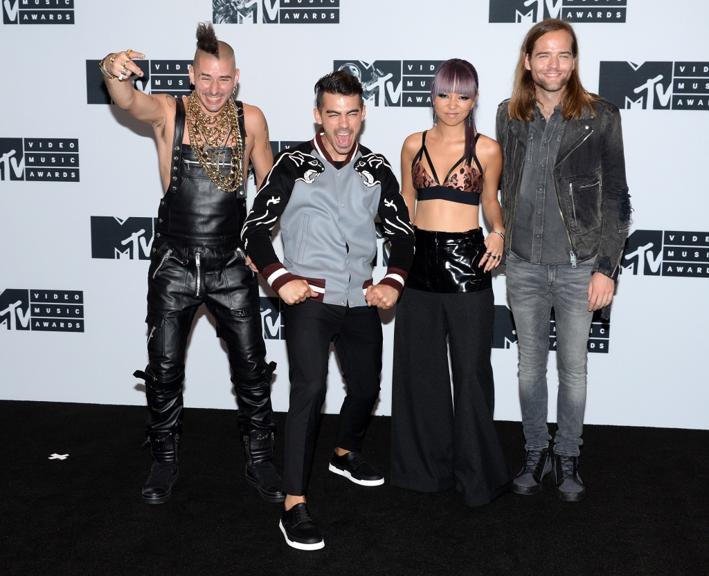 NEW YORK, NY - AUGUST 28: Cole Whittle, Joe Jonas, JinJoo Lee and Jack Lawless of DNCE attend the Press Room at the 2016 MTV Video Music Awards at Madison Square Garden on August 28, 2016 in New York City. (Photo by Anthony Harvey/Getty Images)