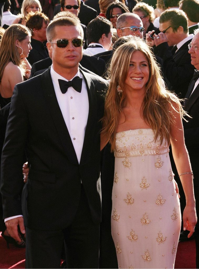 BRAD PITT and JENNIFER ANISTON arriving at The 56th Annual Emmy Awards at The Shrine Auditorium. Los Angeles, California - 19.09.04 Where: CA, United States When: 19 Sep 2004 Credit: WENN