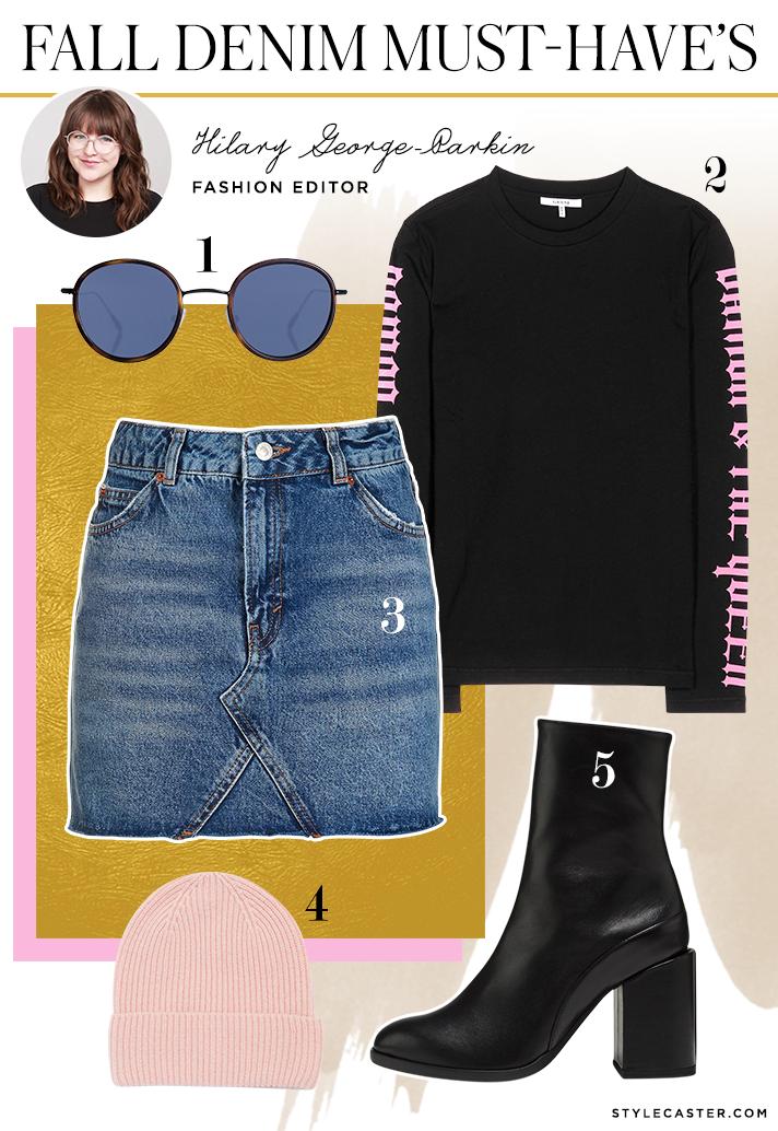 hilary denim mini skirt1 How 8 STYLECASTER Editors Style Falls Must Have Denim