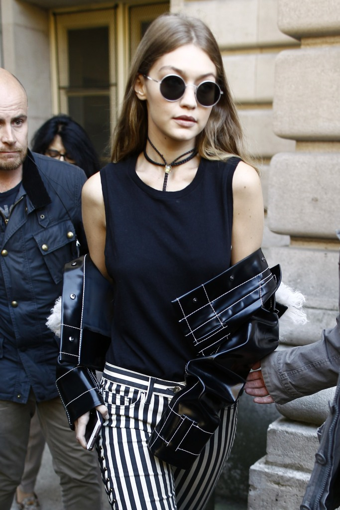 Gigi Hadid leaving a fashion show in Paris, France, during Paris Fashion Week. Featuring: Gigi Hadid Where: Paris, France When: 03 Oct 2016 Credit: WENN.com **Not available for publication in France**
